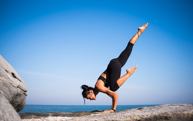Yoga strength shown by a woman